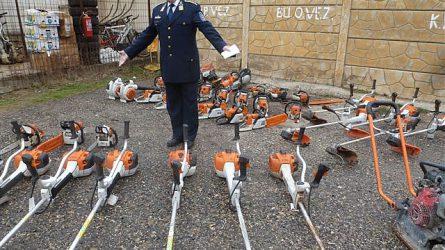 150 lopott motorfűrész, fűkasza és egyéb gép kerül vissza a tulajdonosokhoz